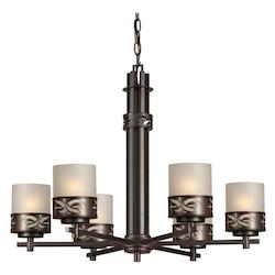 Forte Six Light Antique Bronze Umber Linen Glass Candle Chandelier