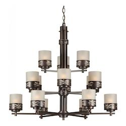 Forte Fifteen Light Antique Bronze Umber Linen Glass Candle Chandelier