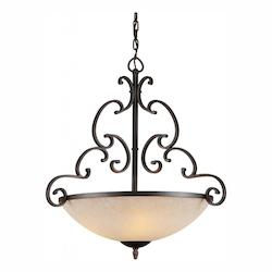 Forte Four Light Bordeaux Tapioca Glass Up Pendant