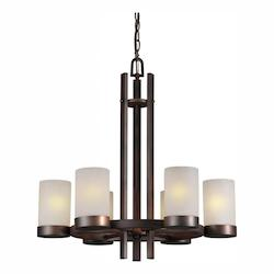Forte Six Light Antique Bronze White Linen Glass Candle Chandelier