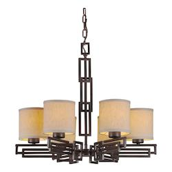 Forte Six Light Antique Bronze Fabric Shade Drum Shade Chandelier