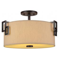 Forte Three Light Antique Bronze Fabric Shade Drum Shade Semi-Flush Mount