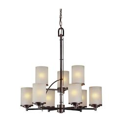 Forte Nine Light Antique Bronze Umber Linen Glass Candle Chandelier