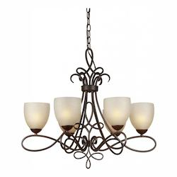 Forte Six Light Antique Bronze Umber Linen Glass Up Chandelier