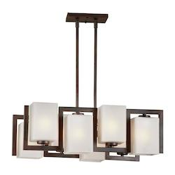 Forte Eight Light Antique Bronze Square Satin Etched Glass Pool Table Light