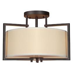 Forte Two Light Antique Bronze Creamcolored Fabric Shade Drum Shade Semi-Flush Mount