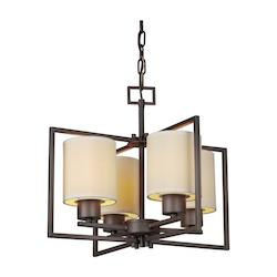 Forte Four Light Antique Bronze Creamcolored Fabric Shade Drum Shade Chandelier