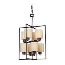 Forte Eight Light Antique Bronze Creamcolored Fabric Shade Open Frame Foyer Hall Fixtu