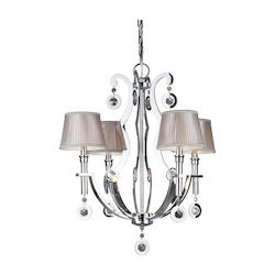 Forte Four Light Chrome Fabric Shade Up Chandelier