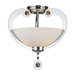 Forte Three Light Chrome Satin Opal Glass Bowl Semi-Flush Mount