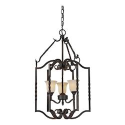 Forte Three Light Bordeaux Tapioca Glass Open Frame Foyer Hall Fixture
