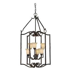 Forte Six Light Bordeaux Tapioca Glass Open Frame Foyer Hall Fixture