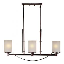 Forte Three Light Antique Bronze Umber Linen Glass Pool Table Light