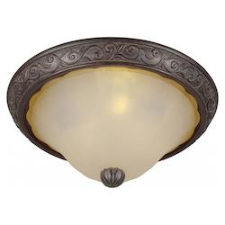 Forte Three Light Black Cherry Shaded Umber Glass Bowl Flush Mount
