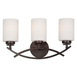 Forte Three Light Antique Bronze Satin Opal Glass Vanity