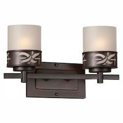 Forte Two Light Antique Bronze Umber Linen Glass Vanity