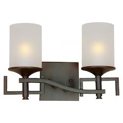 Forte Two Light Antique Bronze White Linen Glass Vanity
