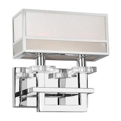 Forte Two Light Chrome Fabric Shade Wall Light