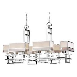 Forte Twelve Light Chrome Fabric Shade Island Light