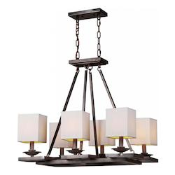 Forte Six Light Antique Bronze Fabric Shade Up Chandelier