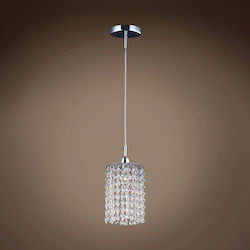 1 Light Round Shape Crystal Mini Pendant Light in Chrome Finish with Crystal - 371564