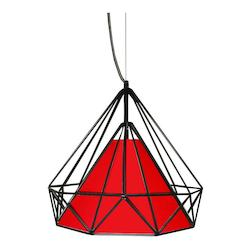 Dainolite 1 Light Metal Framed Pendant With Red Shade