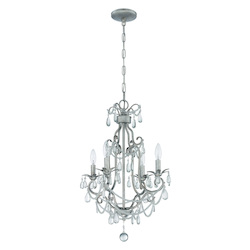 Craftmade 4 Light Mini Chandelier In Antique Silver Finish