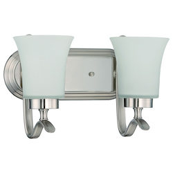 Craftmade 2 Light Vanity In Satin Nickel Finish With Frosted Glass