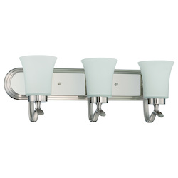 Craftmade 3 Light Vanity In Satin Nickel Finish With Frosted Glass