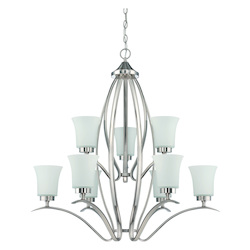 Craftmade 9 Light Chandelier In Satin Nickel Finish With Frosted Glass