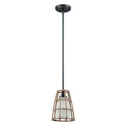 Craftmade 1 Light Mini Pendant With Rope Cage Accent With Frosted Glass