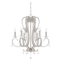 Craftmade 6 Light Chandelier In Brushed Polished Nickel Finish