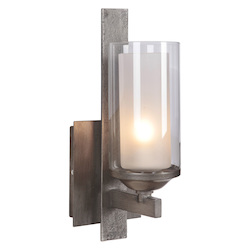 Craftmade 1 Light Vanity With Natural Iron Finish And Etched Glass
