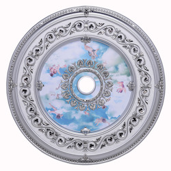 Elegant Decor Pewter 43in. Wide Chandelier Medallion from the Medallion Collection