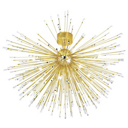 Eglo 35X10W Ceiling Liight W/ Gold Plated Finish & Clear Crystal Spheres