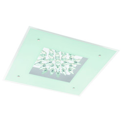Eglo 1X36W Led Ceiling Light W/ White Glass & Clear Trim & Crystals