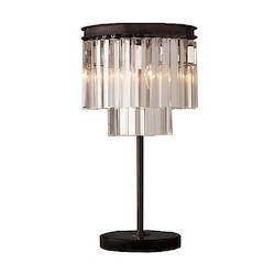 Restoration Revolution Odeon 3 Light Clear Glass Fringe Table Lamp In Java Brown Finish