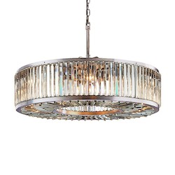 Restoration Revolution Welles 10 Light Clear Crystal Round Chandelier In Polished Nickel Finish