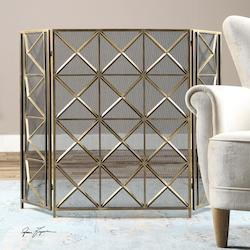 Uttermost Burnished Silver Champagne Akiva Fire Screen Designed By Grace Feyock