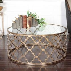 Uttermost Antique Gold Quatrefoil Coffee Table