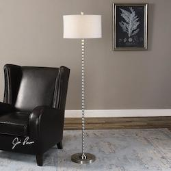 Uttermost Brushed Nickel Sherise Accent Floor Lamp 68In. In Height Designed By Jim Parsons