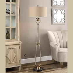 Uttermost Brushed Brass Arcella Accent Floor Lamp 66In. In Height Designed By Billy Moon
