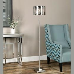 Uttermost Brushed Nickel Fronda Accent Floor Lamp 60In. In Height