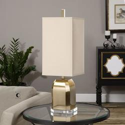 Uttermost Brushed Brass Lantana Accent Table Lamp 29In. In Height Designed By Billy Moon