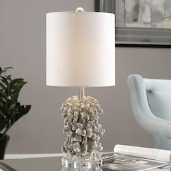 Uttermost Antiqued Silver Silver Coral Accent Table Lamp 24In. In Height