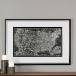 Uttermost Black Satin Custom United States Map Print Designed By Grace Feyock