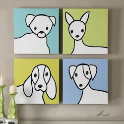 Uttermost Multi-Colored Bow Wow Canvas Art Designed By Eve