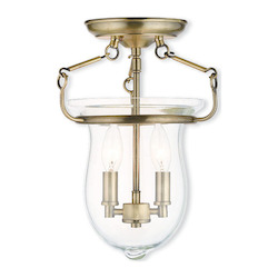 Livex Lighting Antique Brass Canterbury 2 Light Semi Flush Ceiling Fixture
