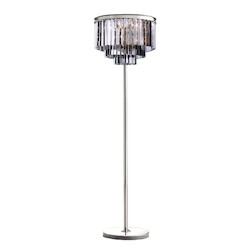 Restoration Revolution Odeon 8 Light Silver Shade Glass Fringe Floor Lamp In Polished Nickel Finish