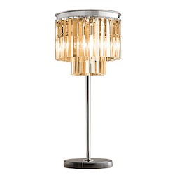 Restoration Revolution Odeon 3 Light Silver Shade Glass Fring Table Lamp In Java Brown Finish